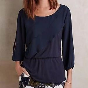 Anthropologie Deletta Alee Navy Blouse Small